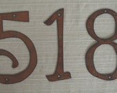Set of 6 - Individual House Numbers - Rustic Metal - 8 INCH