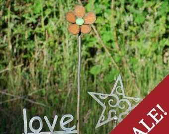 SALE - NEW - Set of 3  Garden Stakes - Flower, Word, and Celestial Stake