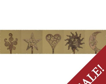 Celestial Sale- All 5 celestial stakes - moon - star - swirl - sun - heart - Discounted price
