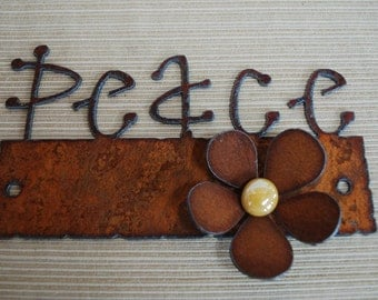 Mini Magnet Board - Your CHOICE of saying - Rusted Metal Magnetic Board PLUS Free Flower Magnet