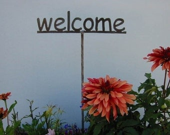 Garden stake -  Metal Garden Sign YOU choose the word...19 Inches Tall