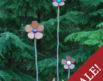 6 - Flower Squiggle Stakes - 3  heights - Rusted - Glass - Sale