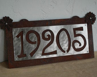 House Numbers Sign - Rusted Steel - Stainless Steel - Up to 5 numbers