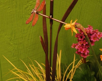 Metal Garden Stake Dragonfly Cattail and Grass