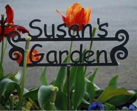 CUSTOM GARDEN sign - Great gift - Personalized Metal Sign for the Garden - 14 designs to choose from