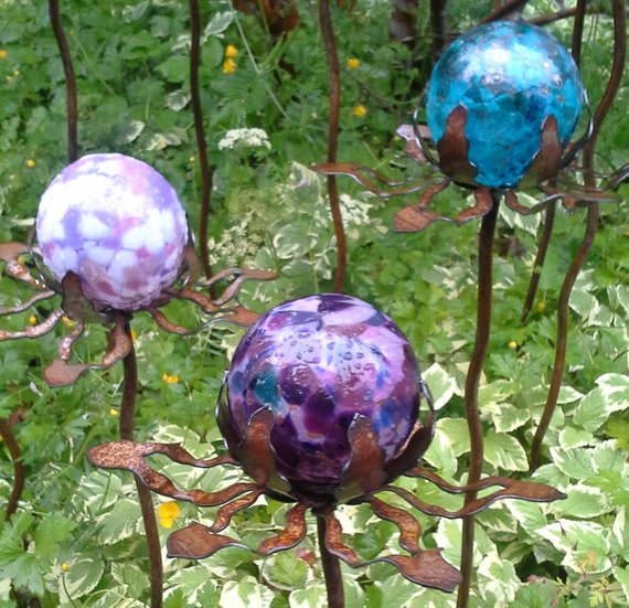 set of 3 garden glass ball garden stake metal steel