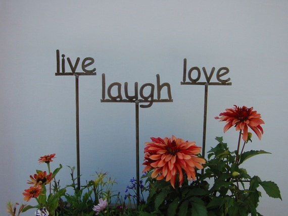 Set of 3 Garden Signs, Live, Laugh, Love OR  3 of your choice - 19 Inches Tall