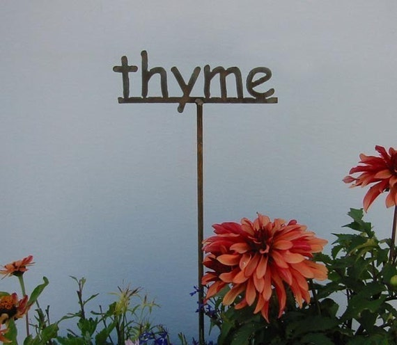 Metal Garden Sign\/Marker for HERBS - thyme herb sign for the garden OR 13 to choose from...19 Inches Tall