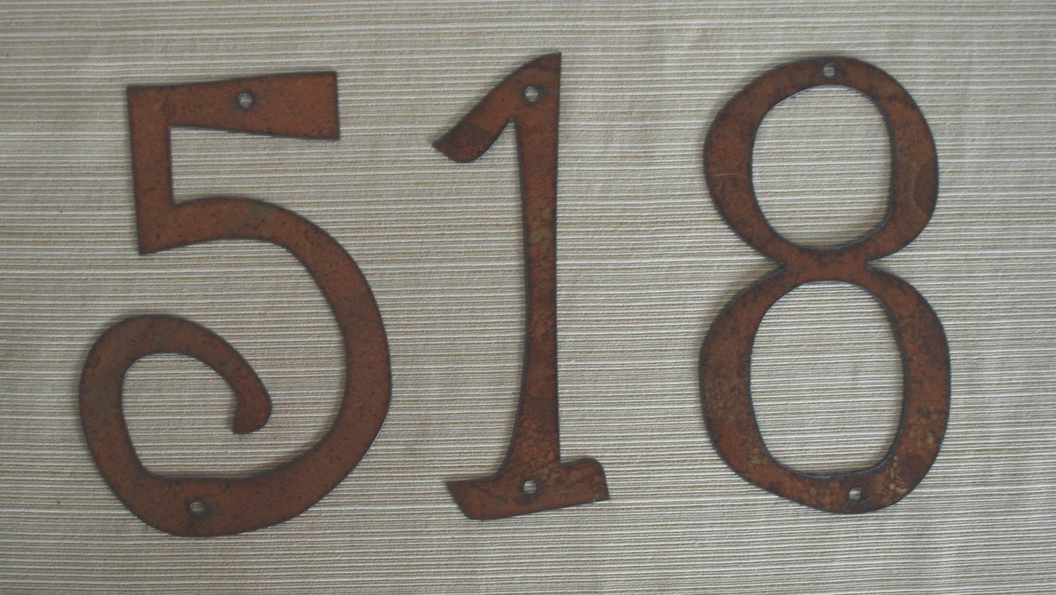 Individual House Numbers Rustic Metal 4 inch TO 8 inch