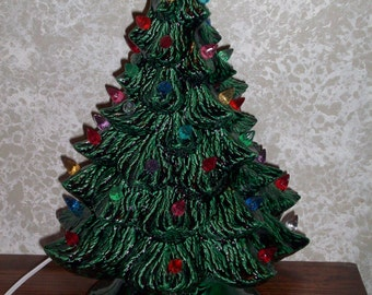Ceramic Holiday Christmas Tree with Lights