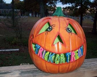 Personalized Jack o Lantern Pumpkin Lights Up