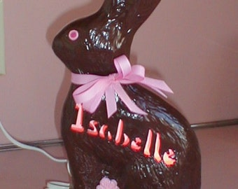 Personalized Ceramic Chocolate Bunny Rabbit Accent Lamp Light Lite