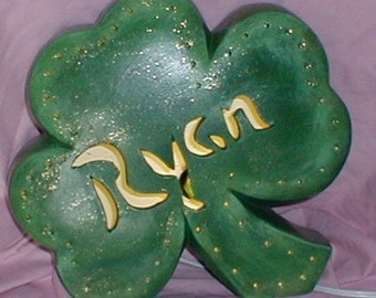Personalized Ceramic IRISH SHAMROCK Accent Lamp Light for St. Patrick's Day
