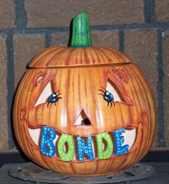 Colorful Ceramic Halloween Pumpkin Jack o Lantern Lamp Light UP