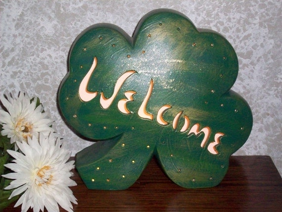 WELCOME Shamrock Accent Lamp Light for St. Patrick's Day Ceramic