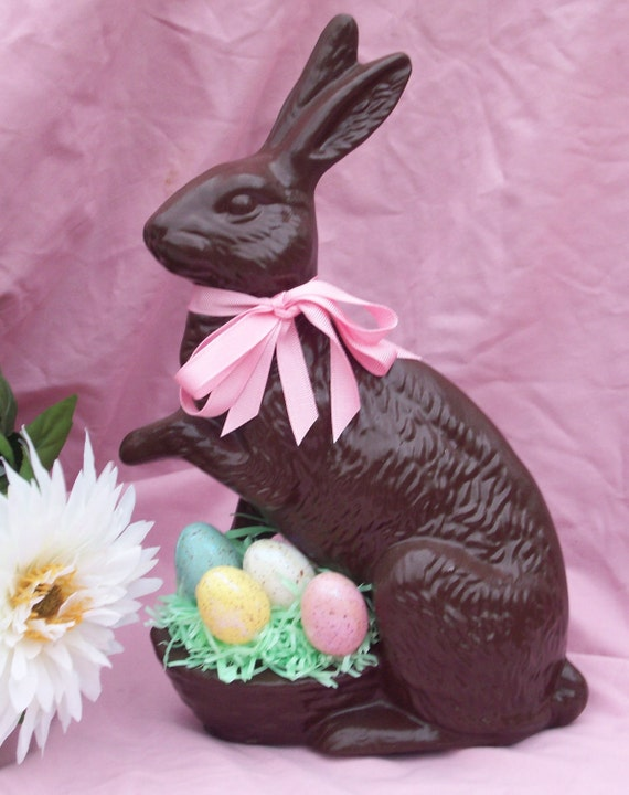 Chocolate Ceramic Easter Bunny Rabbit with Basket