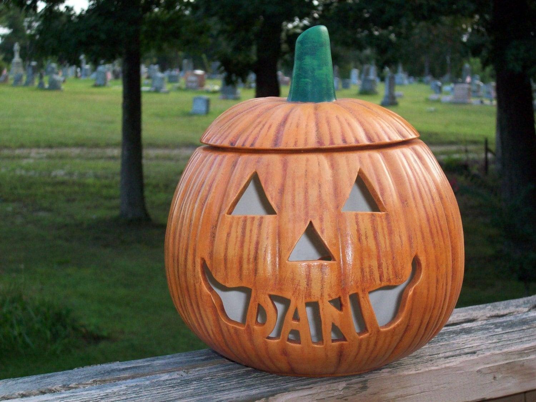 Personalized Ceramic Halloween Jack O Lantern Lamp Light