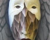 Birdgirl's Escape - Ceramic wall mask, Original Mask Art