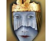Blue Queen - Mask Sculpture, Ceramic Wall Art