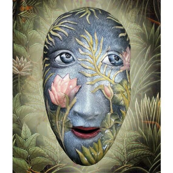 Paradise Found - Mask Sculpture, Ceramic mask, Wall art