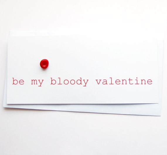 pin and card - be my bloody valentine - glass blood cell pin - Valentine's gift