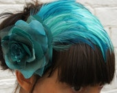 Turquoise assorted recycled vintage fabric rose and recycled feather fascinator/hair flower