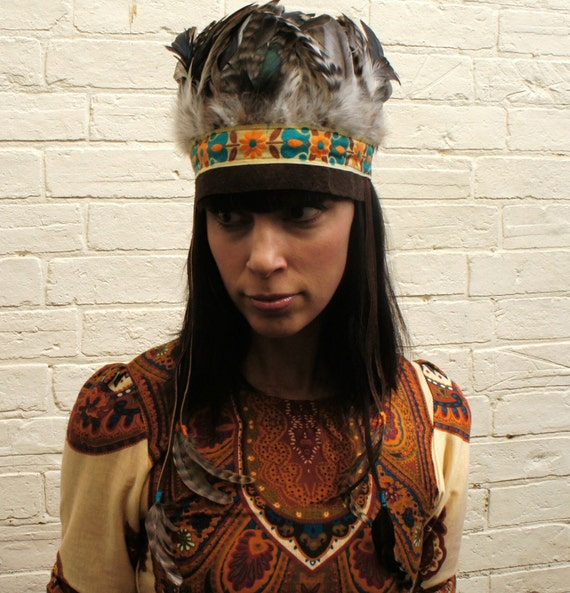Indian head dress, Vintage trimming, leather and feather, dressing up/festival/party