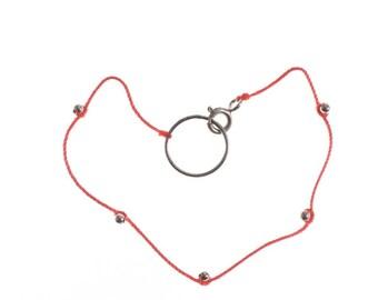 Silk with Silver Beads Bracelet