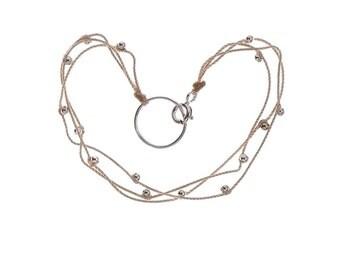 Silver Beads Triple Silk Bracelet