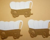 Covered Wagon Pioneers Early Settlers Paper Embellishment Classroom Decor Paper Piecing Tan White Wagon Wagon Trail Handmade Tag Card Making