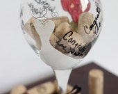 Bride to be hand painted wine glass.  Everyone can sign the glass, comes with a permanent paint marker.