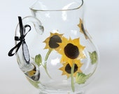 ON SALE -  Sunflower pitcher - Hand painted and dishwasher safe