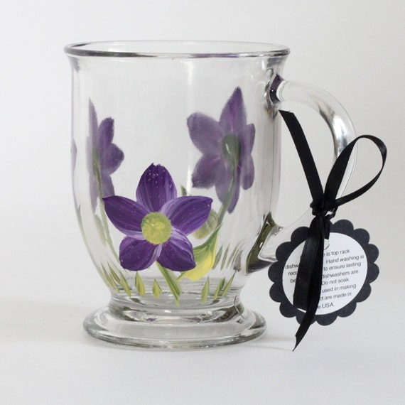Heavy clear round coffee or tea mug hand painted Violet pansy purple pastel  daisies that are top rack dishwasher safe.