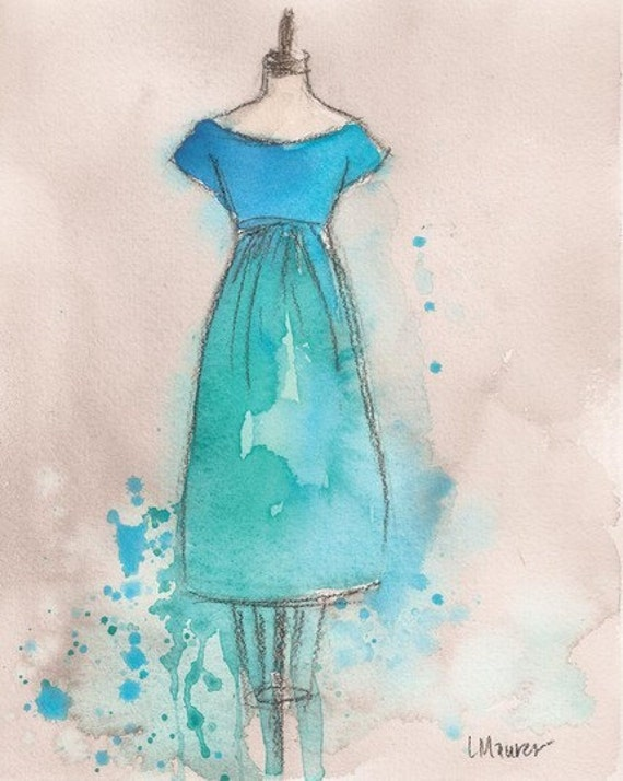 Print - Watercolor and Charcoal Painting - Blue and Teal Dress - 8x10