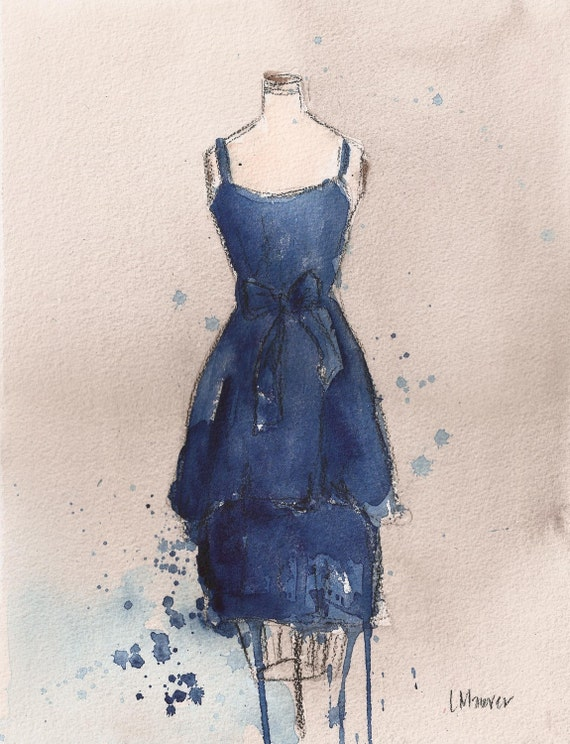 CLEARANCE  - Vintage Dress Painting - Original - Watercolor and Charcoal Painting - Vintage Blue Dress - 11x14