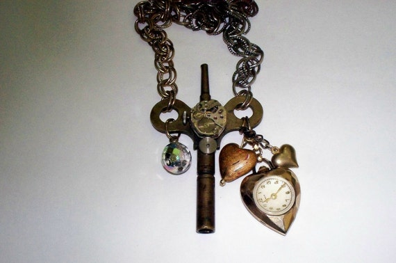 Big Clock Key and Heart Watch Necklace