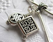 Celtic charm necklace, antiqued black silver pewter Tierra Cast,  ancient Druid, endless Celtic knot, Irish heritage