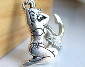 Tattoo pinup and anchor charm necklace - Hey, Sailor - silver pewter