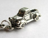 Vintage 50's Pickup Truck charm necklace, silver pewter charm, old truck necklace, travel necklace, journey
