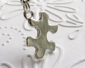 Puzzle Piece, Autism Awareness charm necklace, silver pewter, special education teacher gift, autism necklace, family game night