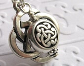 Celtic Knot charm necklace - Tierra Cast antiqued silver pewter, black, lead nickel free, Irish eternal knot