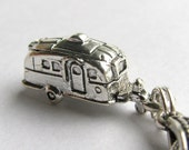 Retro trailer charm necklace - silver pewter - vacation, travel, journey, vintage 50s, caravan camping vehicle