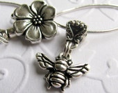 Honey Bee necklace, small pendant necklace with flower clasp - Tierra Cast silver pewter charm, bail and clasp, garden wings bug insect