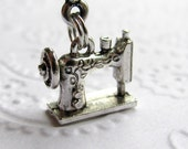 Manual Sewing Machine charm necklace - vintage, retro, antique - silver pewter - crafting, seamstress - Sears Roebuck catalog miniature