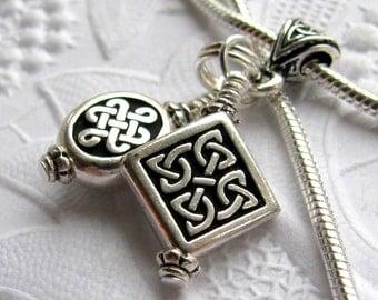 Celtic charm necklace, antiqued black silver pewter Tierra Cast,  ancient Druid, endless Celtic knot, Irish heritage