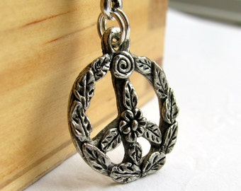 Flower Power peace sign charm necklace - silver pewter, hippie boho chic, retro sixties 60s