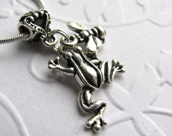 """Frog and Bee charm necklace, """"Garden Friends"""" antiqued silver pewter, spring gardening, TierraCast silver charm, animal spirit guide"""