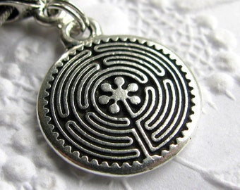 "Labyrinth charm necklace ""Guided Journey"" travel necklace, TierraCast antiqued silver pewter, spiritualiity, travel symbol, inner wisdom"