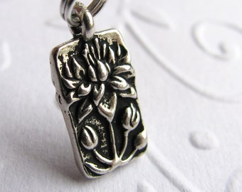 Tiny Lotus Flower necklace pendant, antiqued silver pewter charm, yoga jewelry, Zen Buddhist meditation, water lily, peace, tranquility