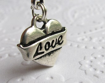 Tattoo style heart charm necklace, Love banner, Tierra Cast antiqued silver pewter,  puffy, puffed, pillow heart, Valentine's Day